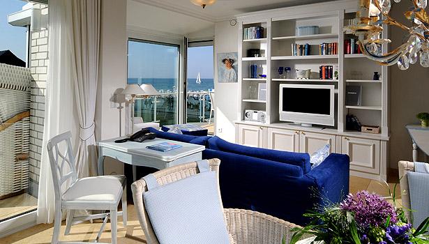Wohnzimmer Wohnung 5, Strandresidenz Kühlungsborn