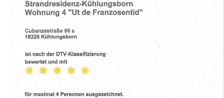 Klassifizierung Wohnung 4, Strandresidenz Kühlungsborn