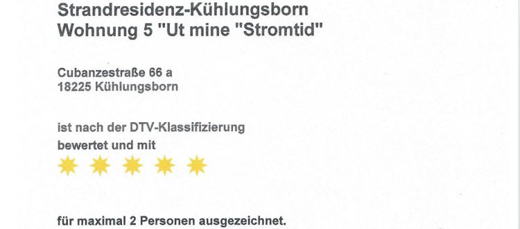 Klassifierung Strandresidenz Kühlungsborn