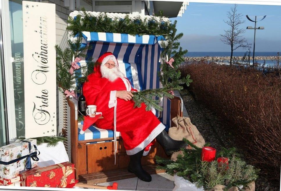 Weihnachtsmann im Strandkorb Strandresidenz
